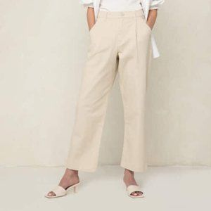 OAK + FORT PT-6907-W Twill Oatmeal Structured Front Pleat Pants Size 2